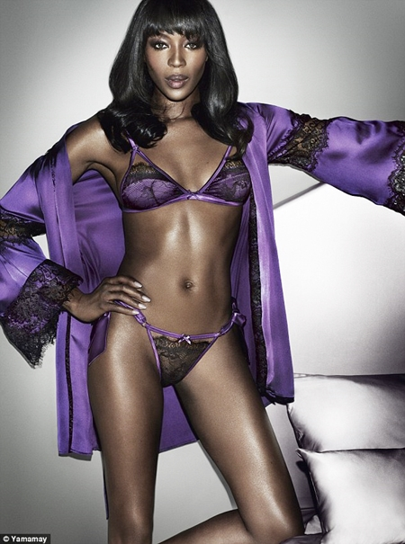 Naomi Campbell Strips Down to Sexy Lingeries to Launch New ...