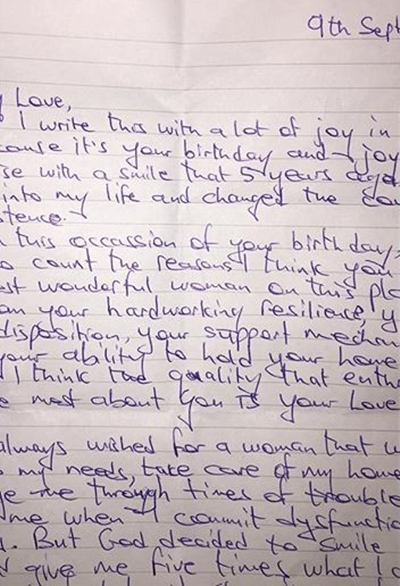 See The Handwritten Love Letter Frank Edoho Wrote To