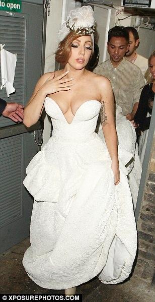 Lady Gaga Sports a Very Revealing Wedding Dress in London