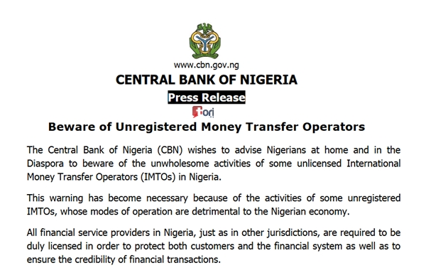 Cbn Blocks Money Transfers To Nigeria From International Transfer Operators Naija Blog Queen Olofofo