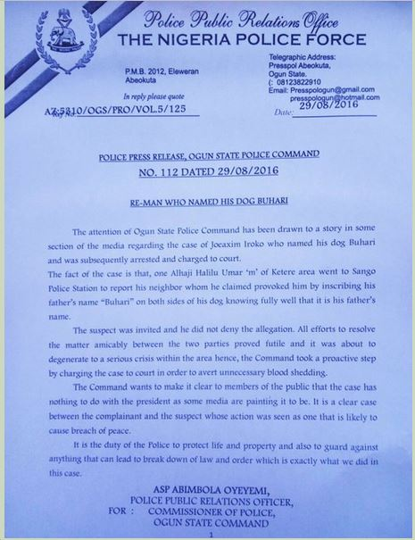 Ogun Police Releases Fresh Statement on the Case Of The Man Who Named His Dog 'Buhari'