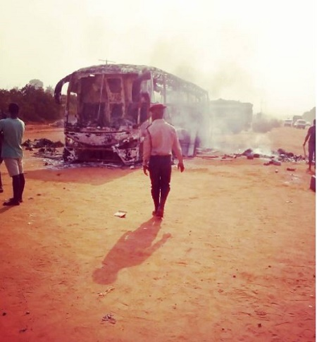 Commotion Along Awka-Onitsha Expressway as Young Shall Grow Luxury Bus Bust Into Flames (Photos)