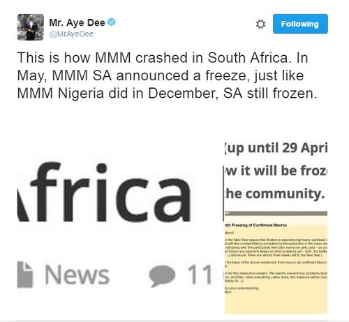 What Really Happened To MMM South Africa   Mr Aye Dee   Investment     Read some his numerous tweets about MMM below