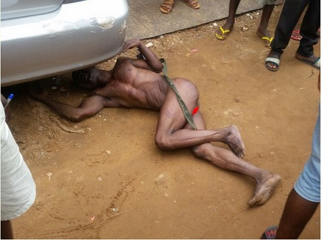 Jungle Justice: Phone Thief Caught in Onitsha, Stripped Unclad (Photos)