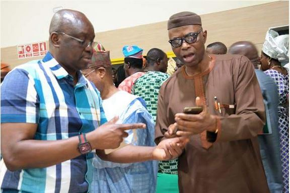 Image result for Fayose pays solidarity visit to Mimiko