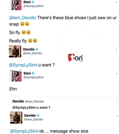 Chemistry? Davido Asks For Simi's Shoe Size After She Begged
