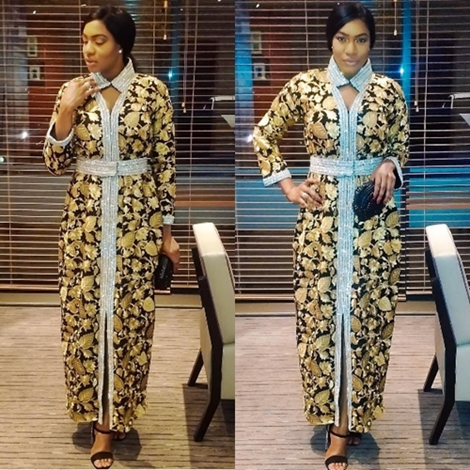 Actress Chika Ike Steps Out in a N2mAmal Azhari Luxury Dress as She Receives Award in London (Photos)