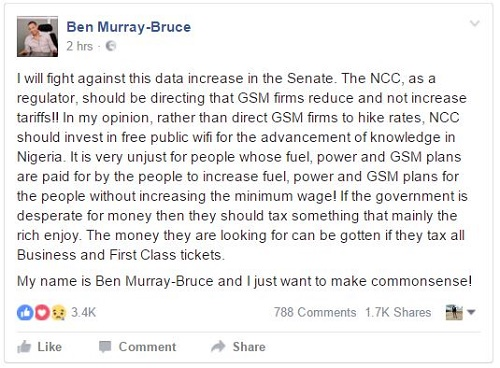 Senator Ben Murray-Bruce is fighting hard against FG on Data rate hike (Read his comment)