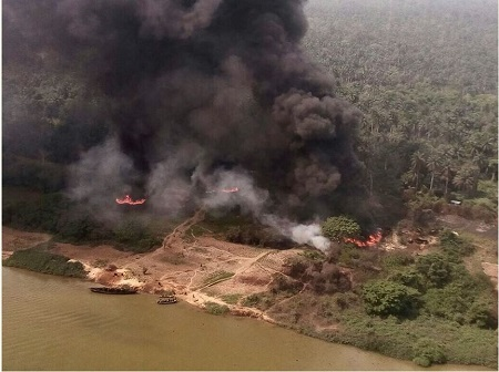 Breaking: How Air Force Helicopter Gunship Destroys Illegal Oil Refineries In Rivers State (photos)