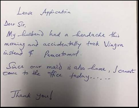 So Hilarious: See The S*X-Induced Leave Of Absence Letter A Woman