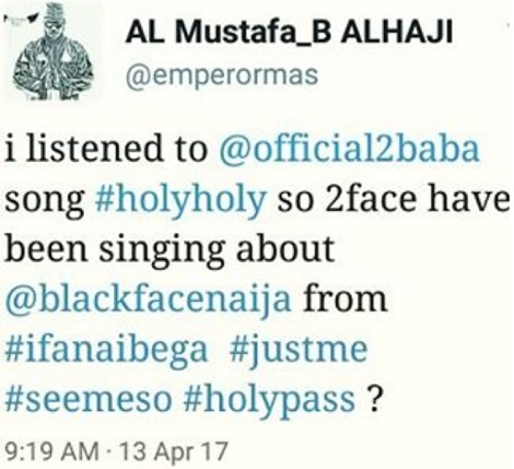 By His Former Band Mate And Legendary RB Singer 2Face Idibia Titled Holy Lambasted The For Allegedly Dissing Him In Track