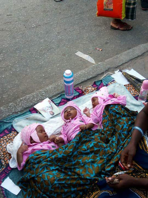 So Sad! Woman Who Gave Birth to Triplets Begs on the Street in Port-Harcourt (Photos)