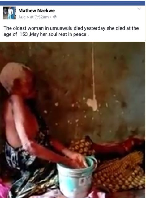 Oldest Woman in Anambra State Dies at the Alleged Age of 153 (Photos)