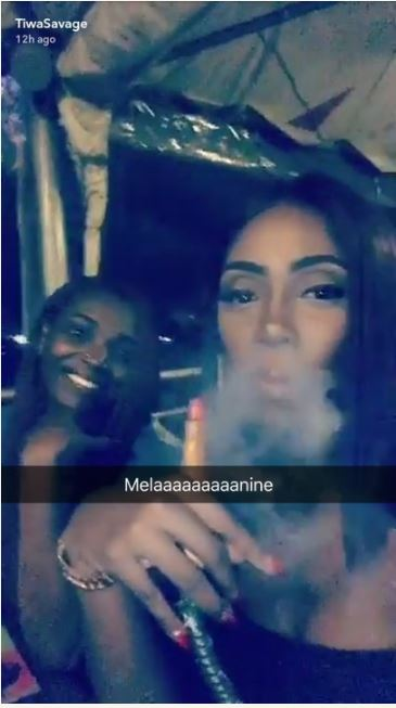 Tiwa Savage Spotted Smoking Shisha at the Club as She Chills with Annie Idibia (Photos)
