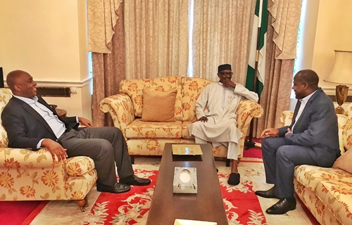Bukola Saraki, Yakubu Dogara Visit President Buhari in London (Photo)