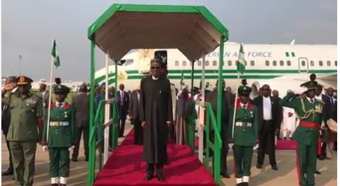 Photos of President Buhari Arriving Abuja Today (Video)