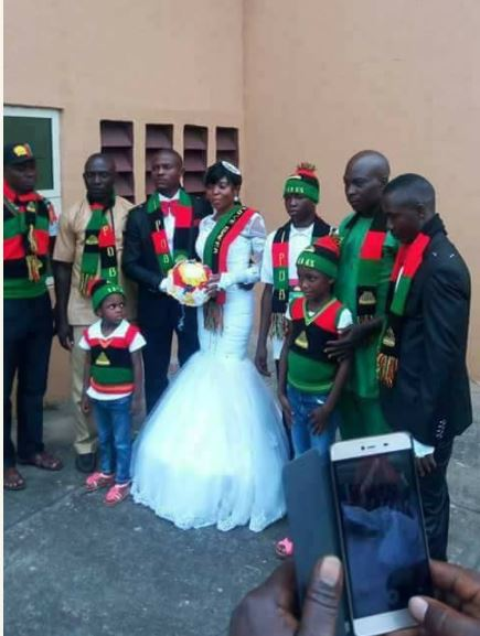Photos Of Couple Who Wore IPOB Costume At Their Wedding In Owerri