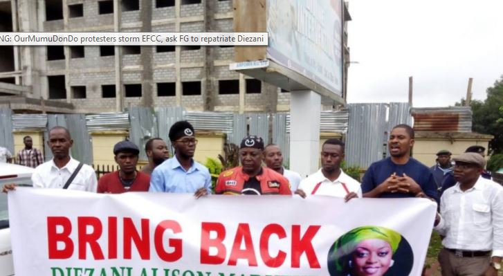 Allison-Madueke Must be extradited, Charlie Boy, others protest in Abuja