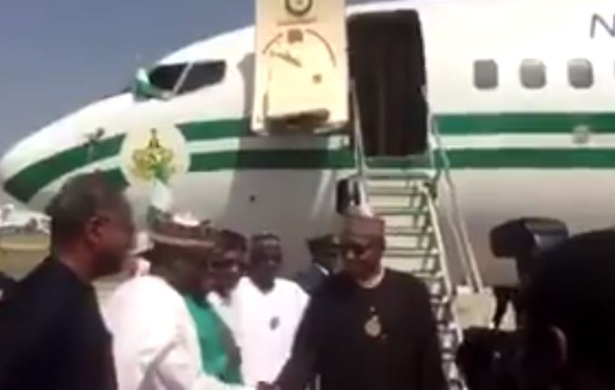 President Buhari Returns From Jordan (Video)