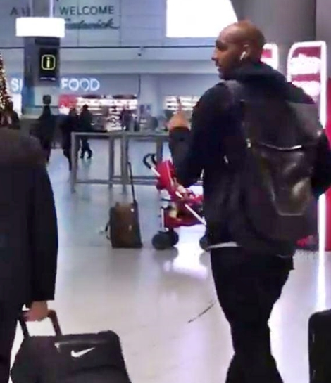 Steven N'Zonzi Arrives Gatwick Airport Amid Arsenal January Transfer Speculation
