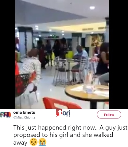 See the Heartbreaking Moment a Young Lady Publicly Rejected Her Boyfriend's Marriage Proposal (Video)
