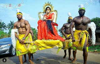 Checkout How This Nigerian Couple Made A Grand Entry To Their Traditional Wedding Just Like Royalty