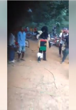 biafra masquerade1 - See 'Biafra Masquerade' Spotted in Ebonyi State Dancing for Money (Video)