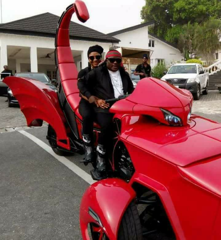 Governor Ayade Arrives Calabar Carnival on a 'Monster Scorpion Bike' with His Wife (Photos)