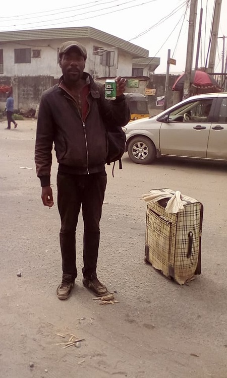 London-Based Man Spotted Roaming The Streets Of Lagos After Arriving From London For Christmas (Photos)