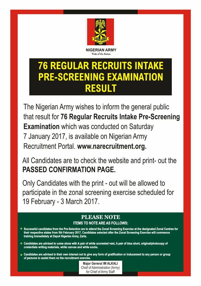 News: Nigerian Army Releases List of Recruitment Intake
