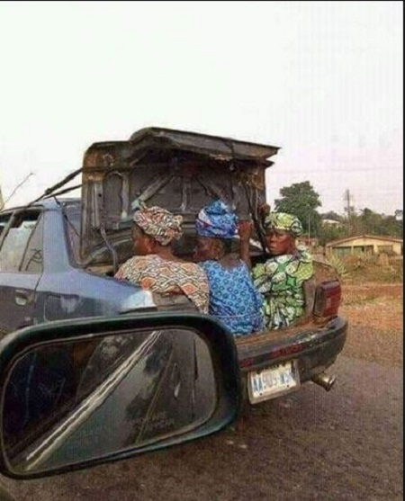 Is This Poverty or Foolishness? Everybody is Talking About These Old Women Huddled in the Boot of a Car (Photo)