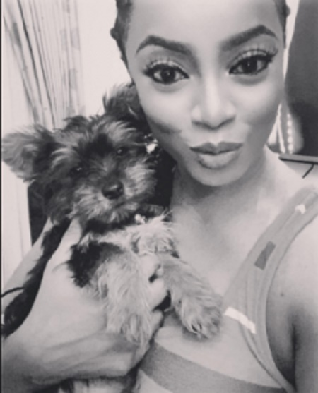Toke Makinwa Cries Out After Her Cute Dog 'Ate' Her N480,000 Designer Shoes (Photos)