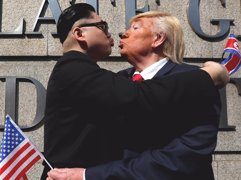 Donald Loving Death >> Sworn Enemies: Presidents Trump and Kim Photographed Snogging and Kissing in Photos and Video ...
