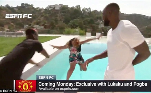 See the Moment Pogba Pushed a Female Reporter Into a Swimming Pool as He Messes Around with Lukaku (Photos)