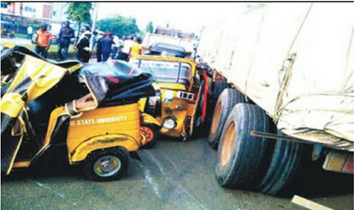 bloody fatal road accident between truck and keke leaves
