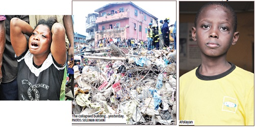 Shock and Panic as 7-year-old Boy Walks Out of 4-Storey Building that Collapsed in Lagos Alive (Photos)