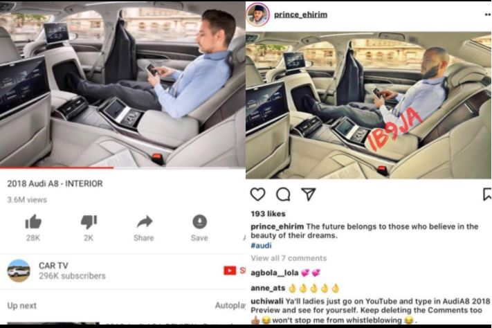Shame! Mr Ideal 2016 Caught After He Photoshopped Himself Into the 2018 Audi A8 to Deceive His Unsuspecting Followers