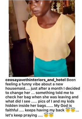Shocking! Lady Raises Alarm After Finding Her Family Photos in Her Sacked Housemaid's Bag (Video)