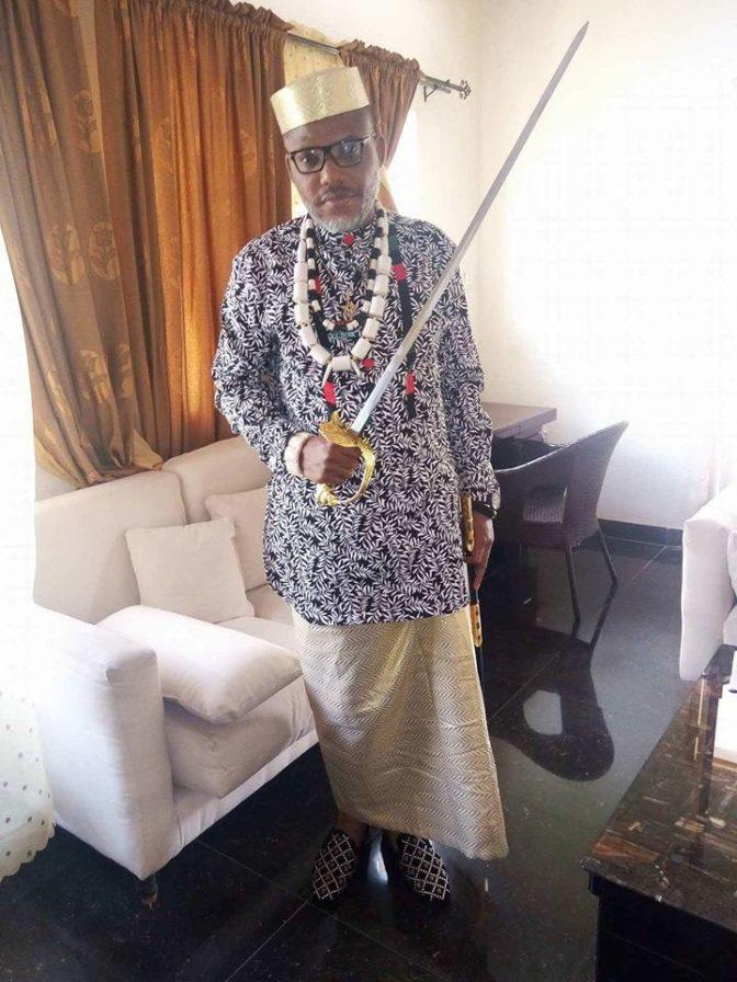 Nnamdi Kanu Shows Off His Royal Sword at His Residence (Photos)