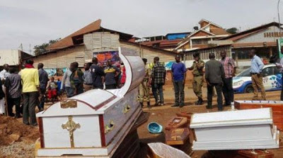 Angry Traders Dump 37 Coffins at Prophet TB Joshua's Synagogue Church (Photo)
