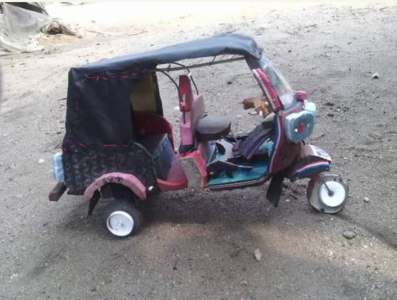 boy%20keke3 - Port Harcourt Boy Constructs 'Keke Napep' with Bathroom Slippers (Photos)
