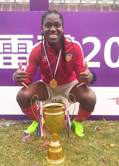 Super Falcons Star, Asisat Oshoala Wins Chinese Super Cup, Finishes as Top Scorer (Photos)