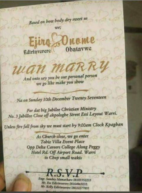 Hilarious: Wedding Invitation Card of a Warri Couple Written in Pidgin English (Photos)