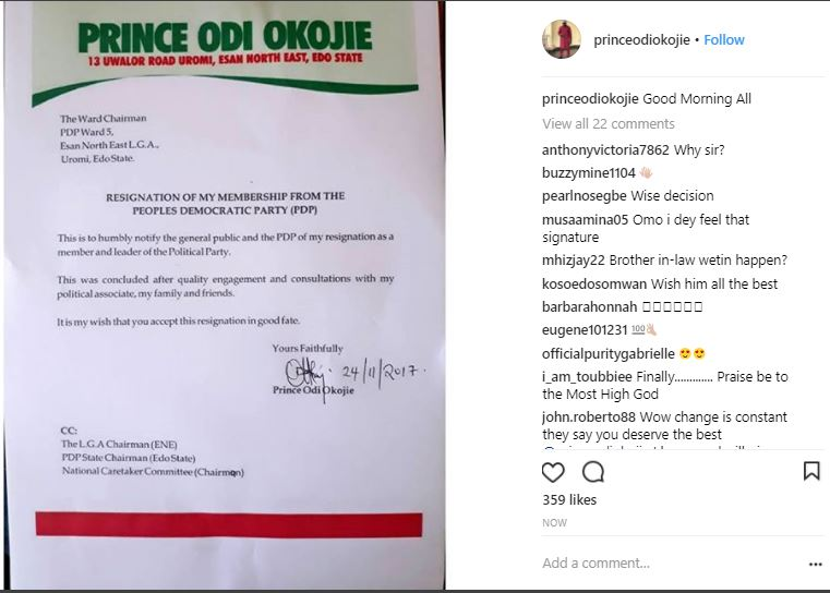 Mercy Johnson's Husband, Prince Odi Okojie Dumps PDP