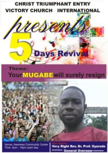 'Your Mugabe Must Resign' - See the New Church Poster That is Causing Ripples on Social Media