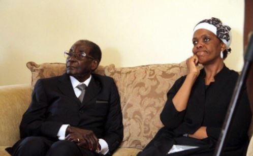 Picture Of Mugabe, Wife Grace 'Watching Mnangagwa's Inauguration' On TV Goes Viral