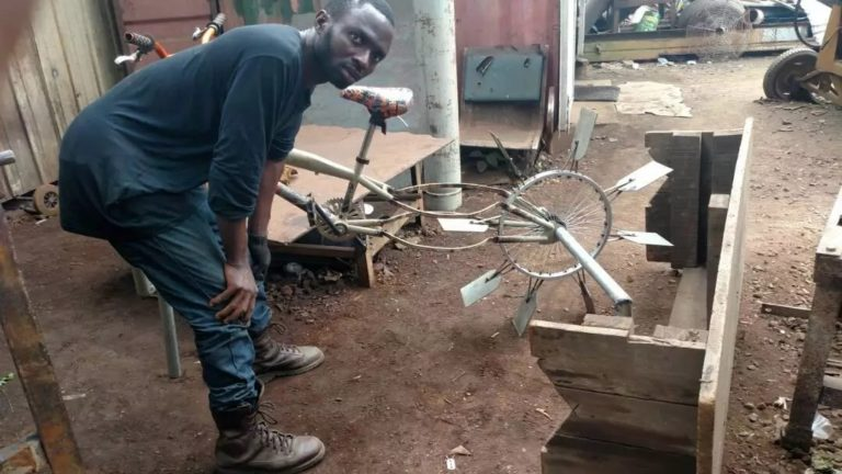 See the Bicycle that Rides On Water Designed by a School Dropout (Photos)