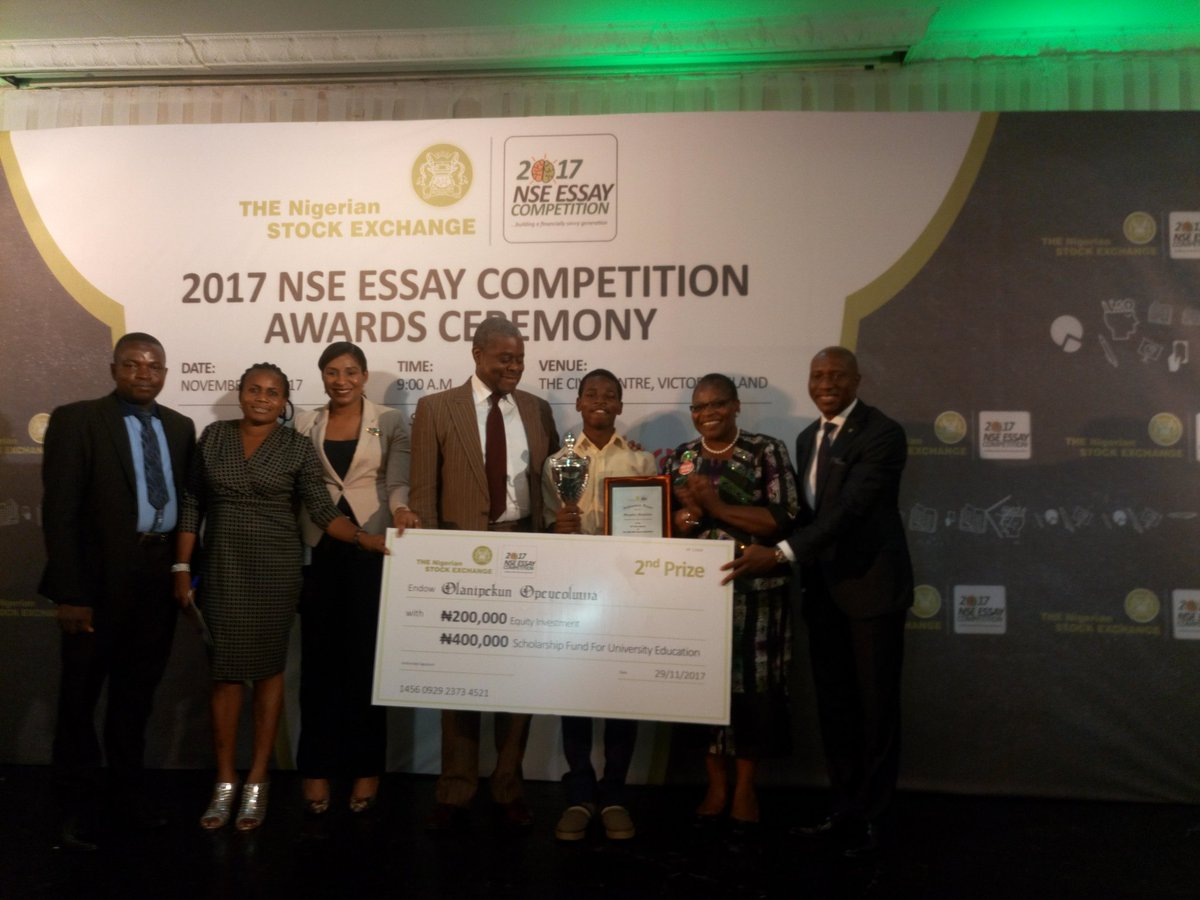 nse essay competition The nigerian stock exchange (nse) is committed to developing a culture of wealth creation among young nigerians toward building a financially savvy generation the chief executive officer of the nse, mr oscar onyema stated this yesterday at the award ceremony of the 2017 nse annual essay competition for secondary schools.