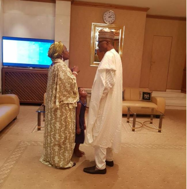 Aisha Buhari Welcomes Her Husband to Aso Rock After Visiting Troops in Borno