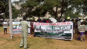 Igbo Group Cause Temporary Traffic in Major Streets of Abuja, Rally for President Buhari